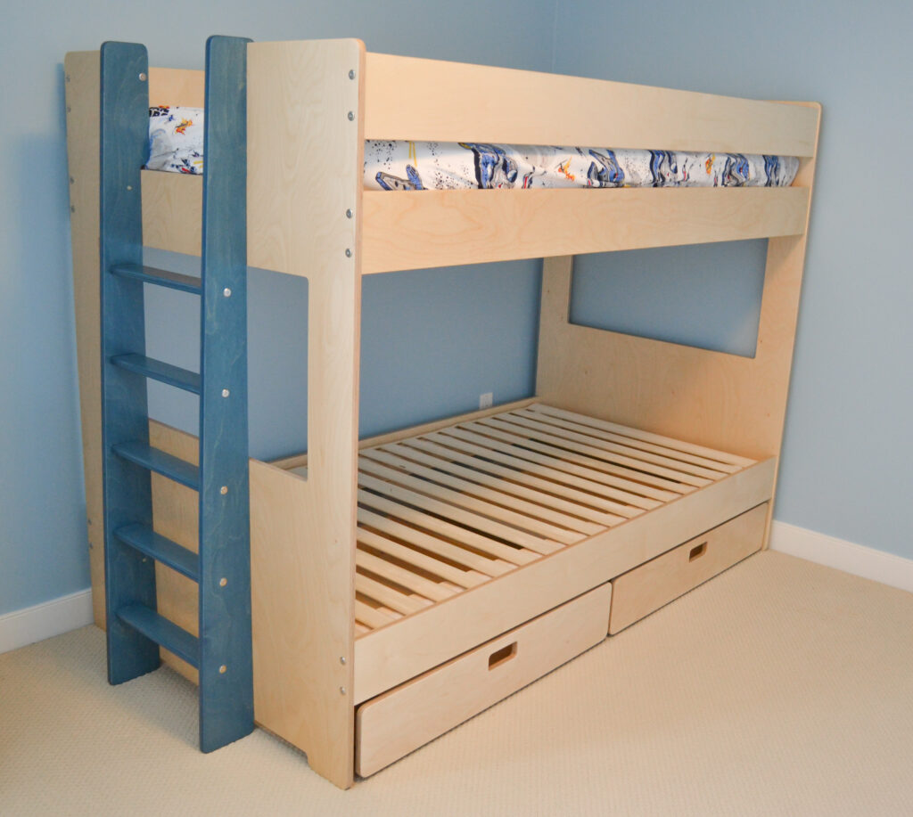 storage drawer for underneath a bunk bed made out of birch multiply