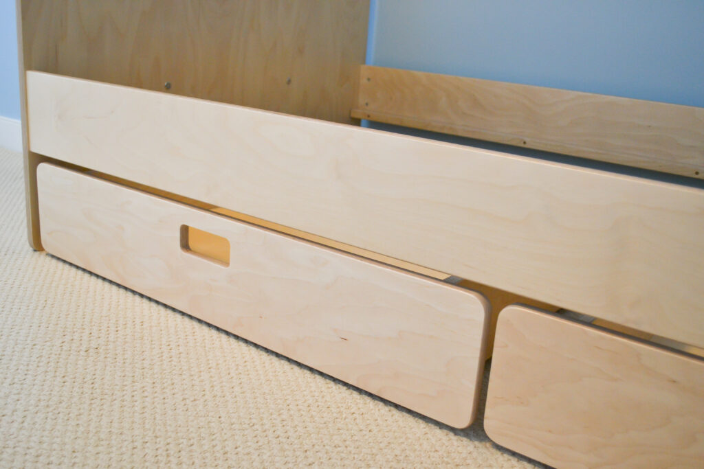 Large drawers for storage under a birch multiply bunk bed finished in an eco friendly varnish