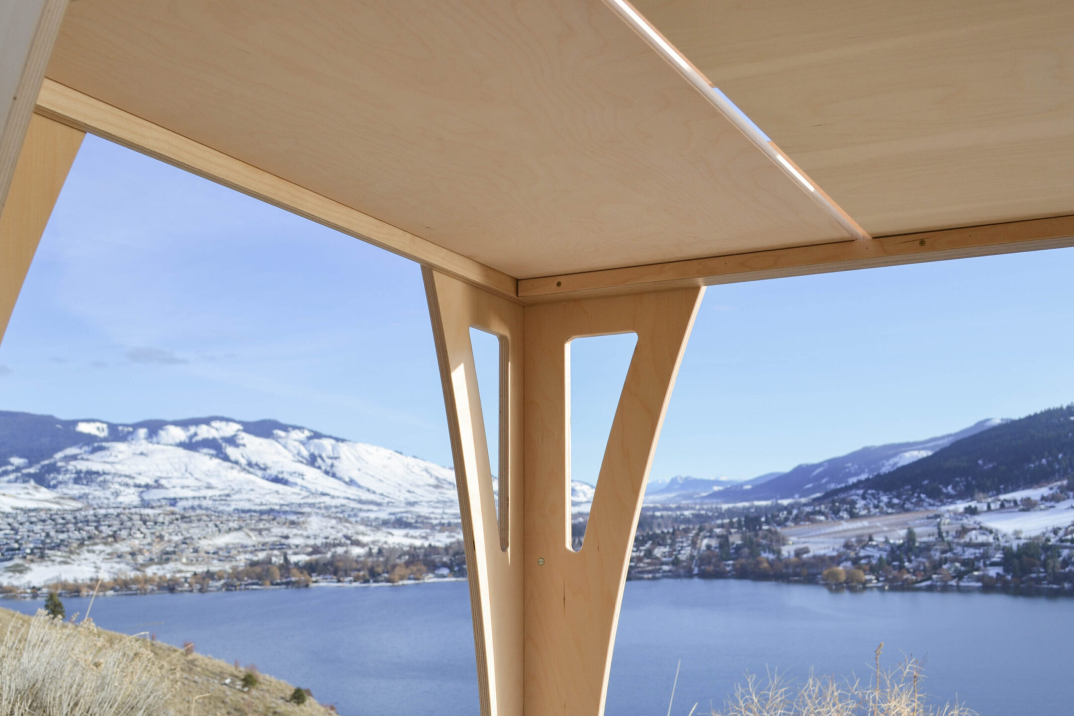 2021 bunk bed made out of 100% Birch multiply photographed with a beautiful view of the Okanagan valley